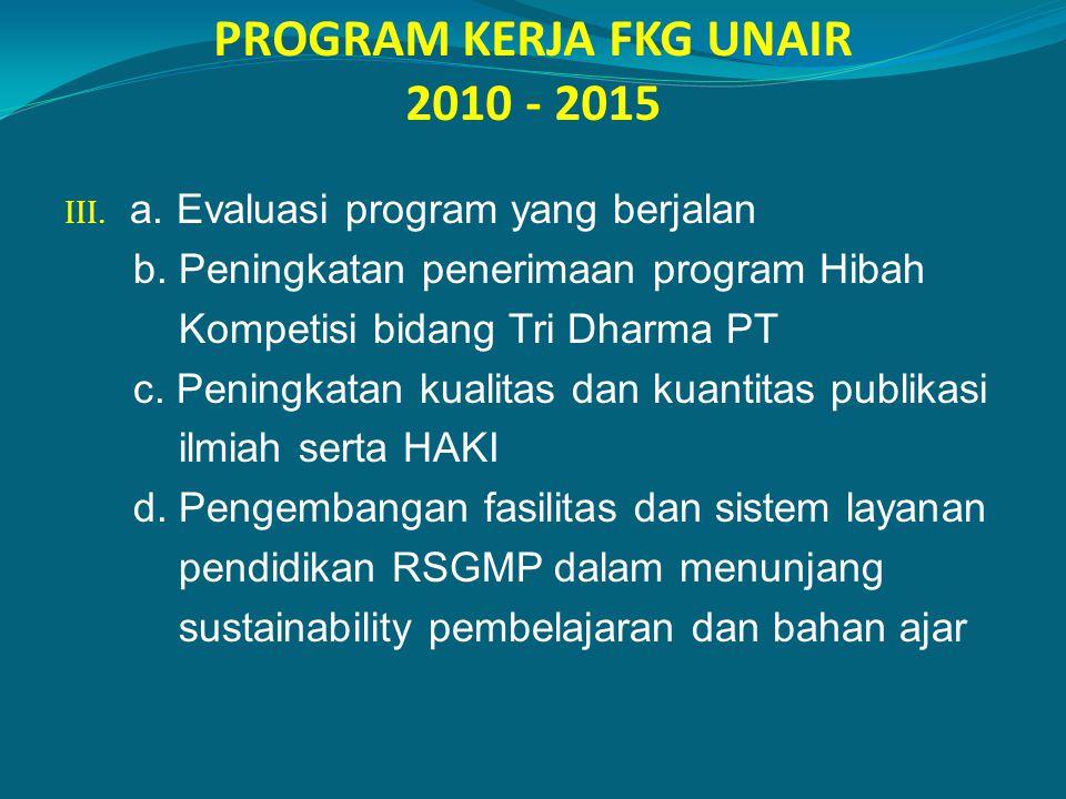 PROGRAM KERJA FKG UNAIR 2010 - 2015 III. a. Evaluasi program yang berjalan b. Peningkatan penerimaan program Hibah Kompetisi bidang Tri Dharma PT c. P