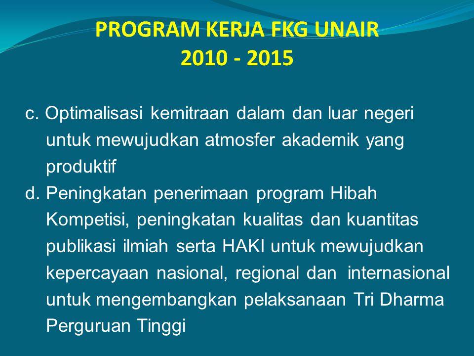 PROGRAM KERJA FKG UNAIR 2010 - 2015 c. Optimalisasi kemitraan dalam dan luar negeri untuk mewujudkan atmosfer akademik yang produktif d. Peningkatan p