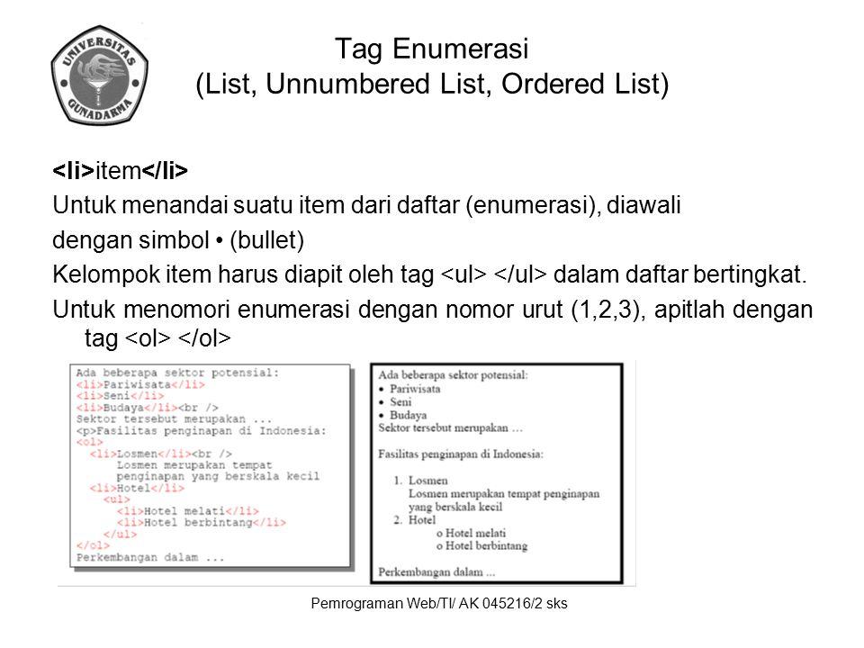 Pemrograman Web/TI/ AK 045216/2 sks Tag Enumerasi (List, Unnumbered List, Ordered List) item Untuk menandai suatu item dari daftar (enumerasi), diawal