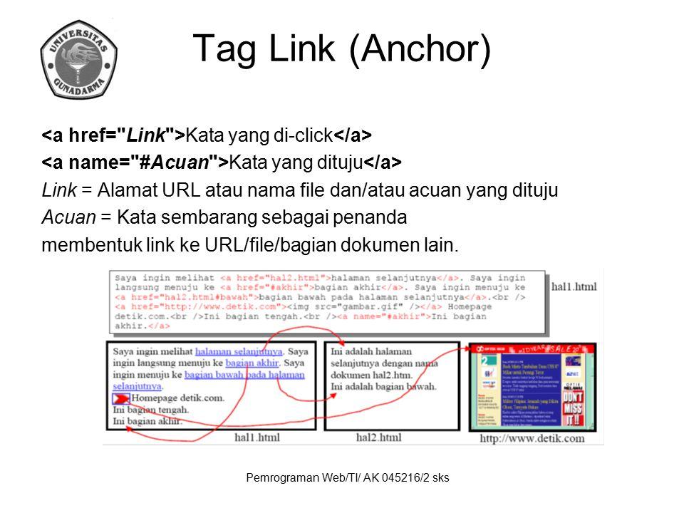 Pemrograman Web/TI/ AK 045216/2 sks Tag Link (Anchor) Kata yang di-click Kata yang dituju Link = Alamat URL atau nama file dan/atau acuan yang dituju