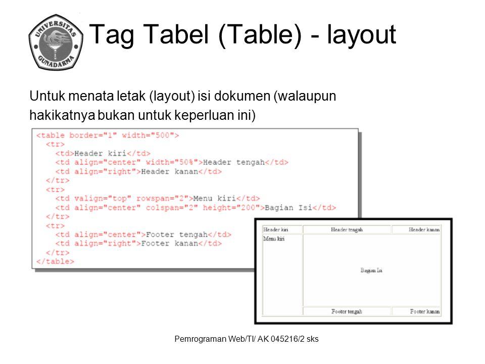 Pemrograman Web/TI/ AK 045216/2 sks Tag Tabel (Table) - layout Untuk menata letak (layout) isi dokumen (walaupun hakikatnya bukan untuk keperluan ini)