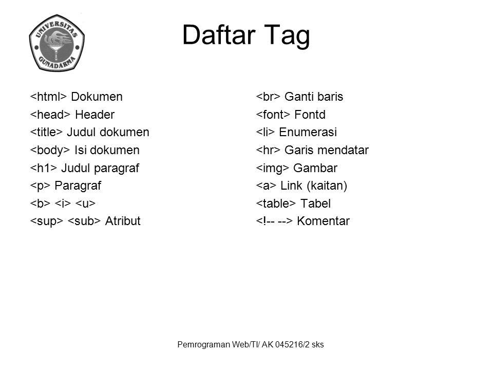 Pemrograman Web/TI/ AK 045216/2 sks Daftar Tag Dokumen Header Judul dokumen Isi dokumen Judul paragraf Paragraf Atribut Ganti baris Fontd Enumerasi Ga
