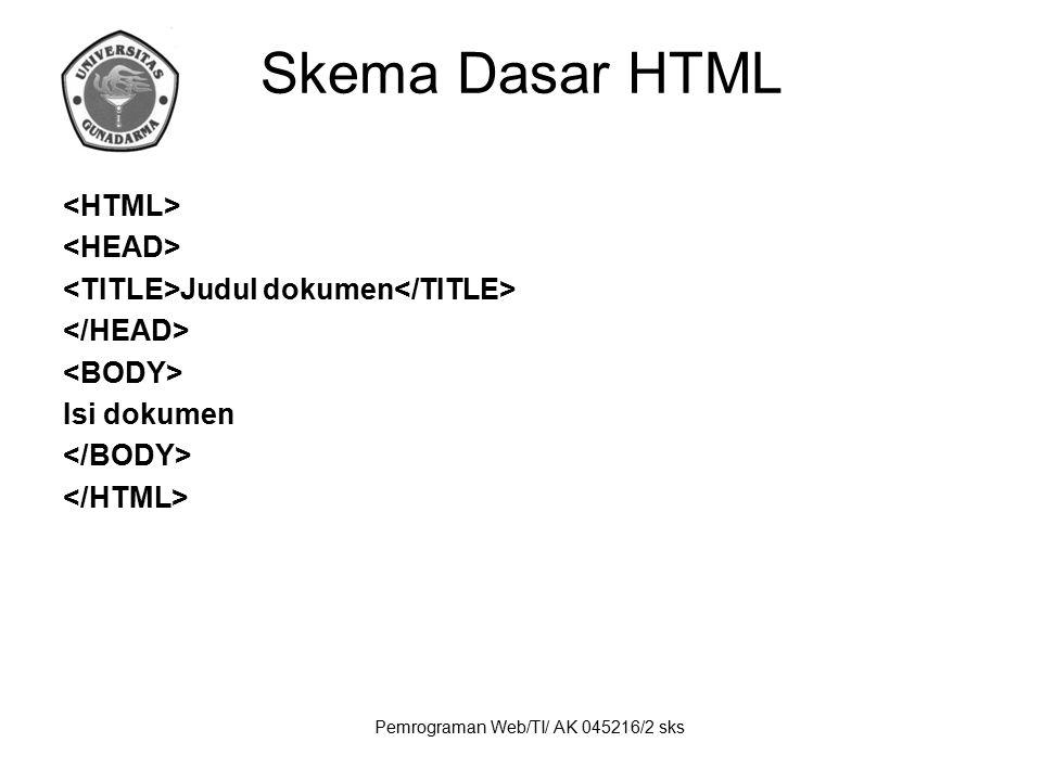 Pemrograman Web/TI/ AK 045216/2 sks Skema Dasar HTML Judul dokumen Isi dokumen