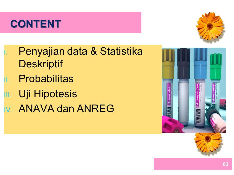 03 CONTENT I.Penyajian data & Statistika Deskriptif II.