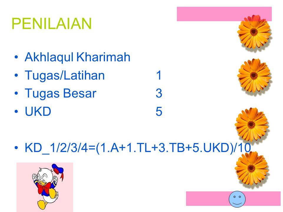 PENILAIAN Akhlaqul Kharimah Tugas/Latihan1 Tugas Besar3 UKD5 KD_1/2/3/4=(1.A+1.TL+3.TB+5.UKD)/10