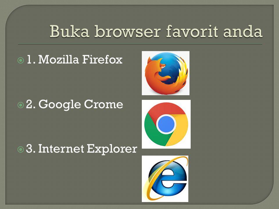  1. Mozilla Firefox  2. Google Crome  3. Internet Explorer