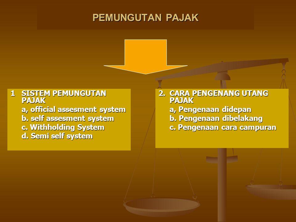 PEMUNGUTAN PAJAK 1SISTEM PEMUNGUTAN PAJAK a, official assesment system b. self assesment system c. Withholding System d. Semi self system 2.CARA PENGE