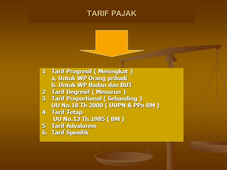 TARIF PAJAK 1Tarif Progresif ( Meningkat ) a, Untuk WP Orang pribadi b. Untuk WP Badan dan BUT 2Tarif Degresif ( Menurun ) 3Tarif Proportional ( Seban