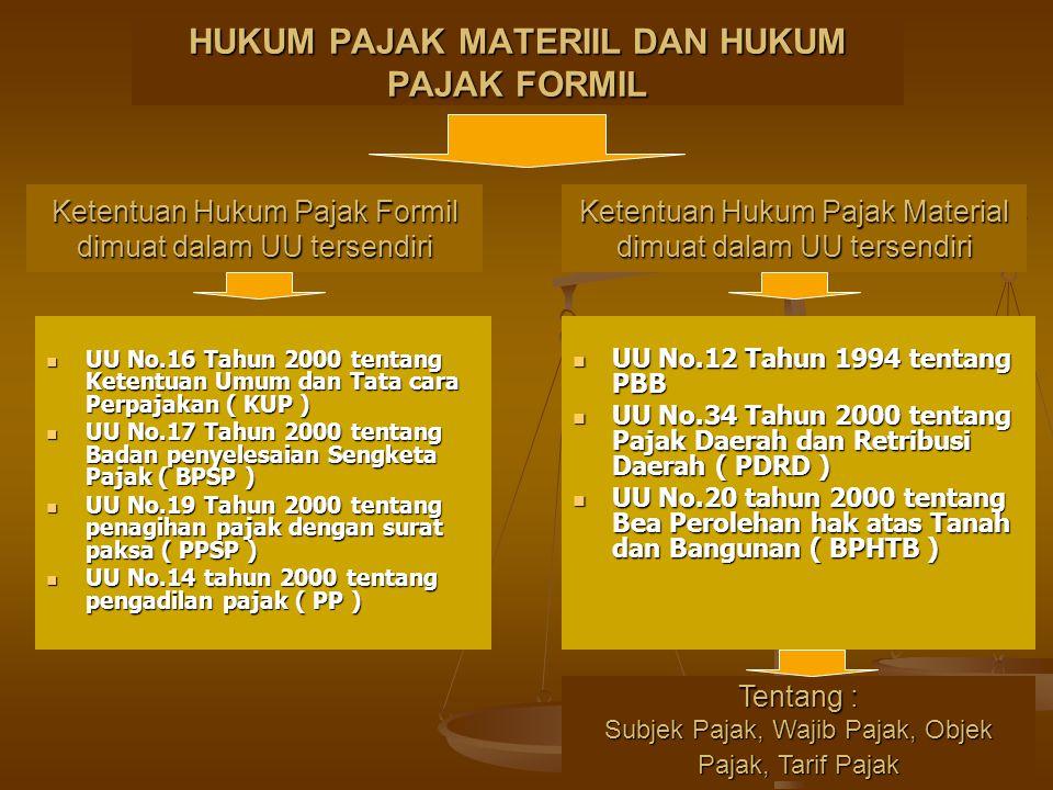 HUKUM PAJAK MATERIIL DAN HUKUM PAJAK FORMIL UU No.16 Tahun 2000 tentang Ketentuan Umum dan Tata cara Perpajakan ( KUP ) UU No.16 Tahun 2000 tentang Ke