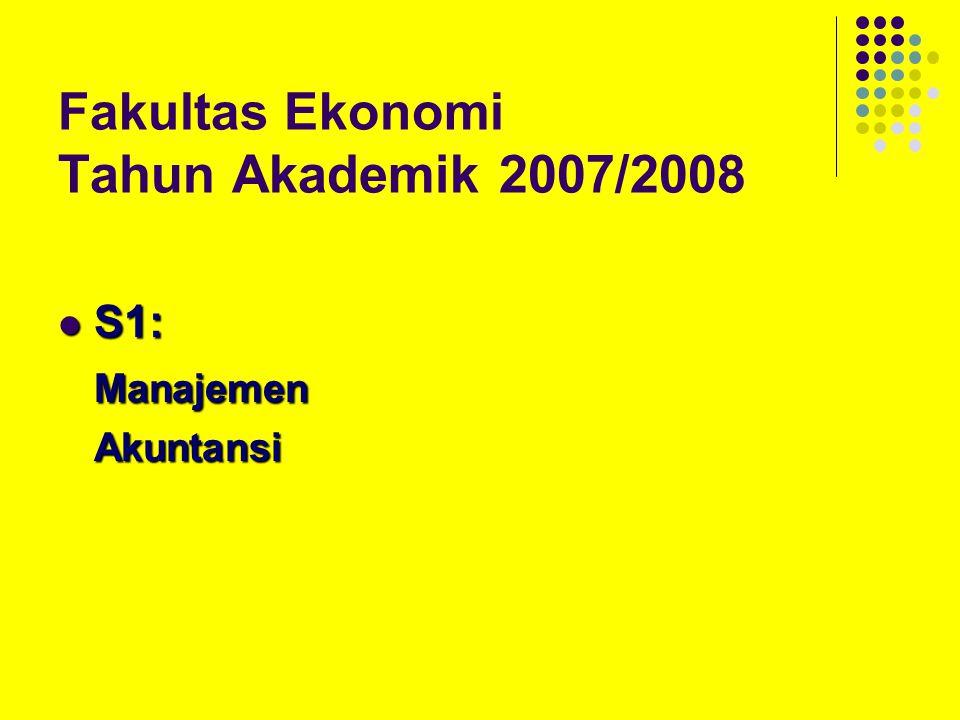 Fakultas Ekonomi Tahun Akademik 2007/2008 S1: S1:ManajemenAkuntansi