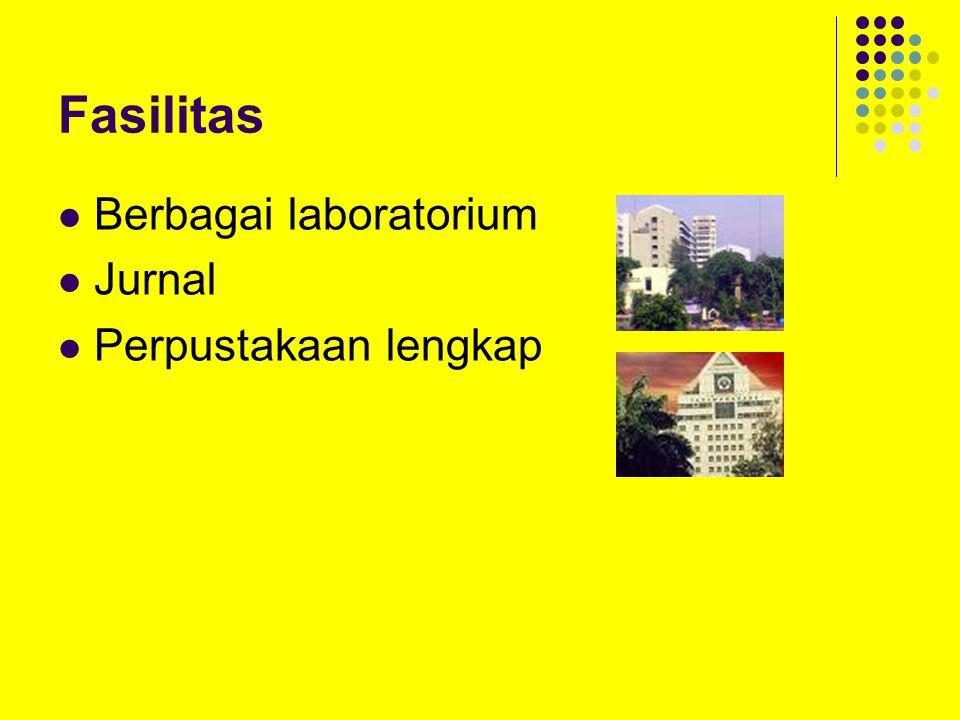 Fasilitas Berbagai laboratorium Jurnal Perpustakaan lengkap