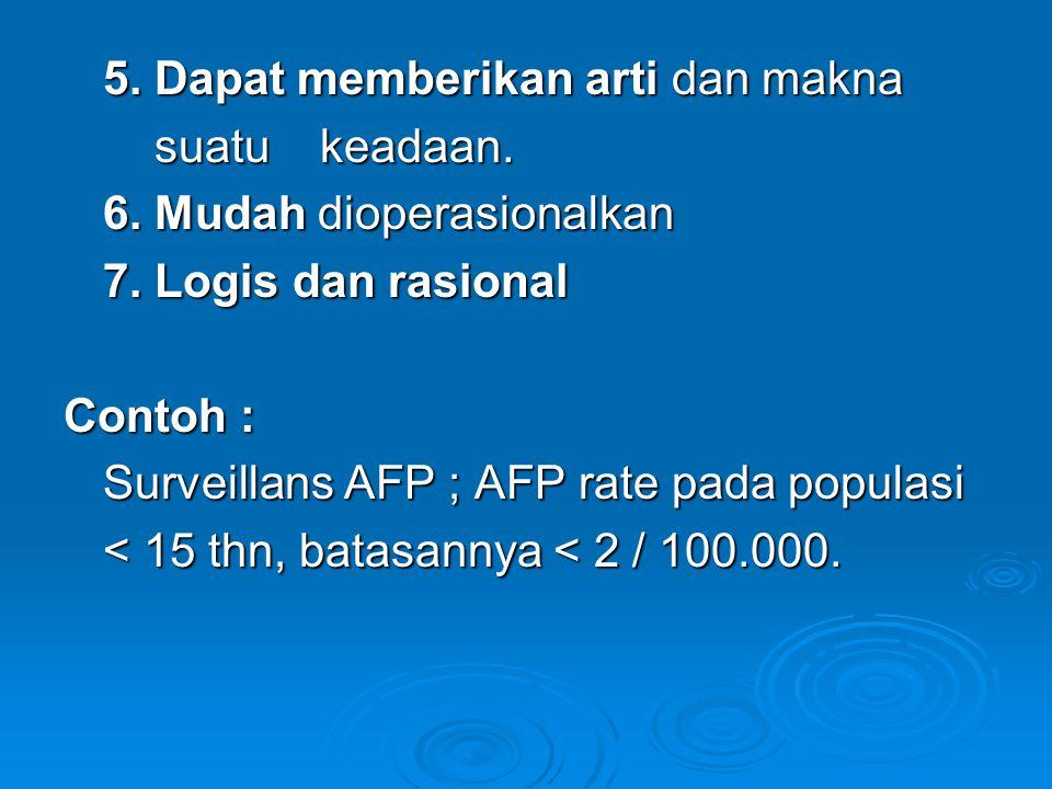 5. Dapat memberikan arti dan makna suatu keadaan. suatu keadaan. 6. Mudah dioperasionalkan 7. Logis dan rasional Contoh : Surveillans AFP ; AFP rate p