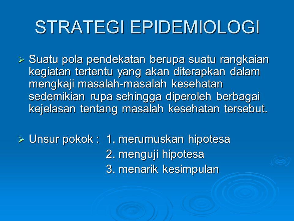 STRATEGI EPIDEMIOLOGI  Suatu pola pendekatan berupa suatu rangkaian kegiatan tertentu yang akan diterapkan dalam mengkaji masalah-masalah kesehatan s