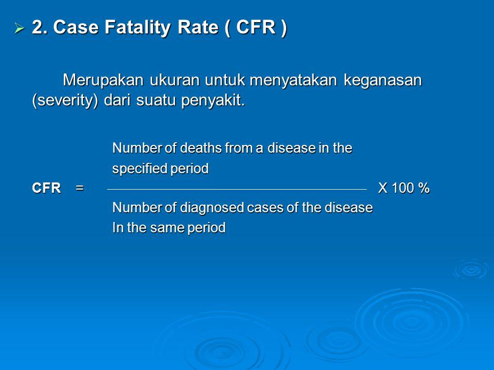  2. Case Fatality Rate ( CFR ) Merupakan ukuran untuk menyatakan keganasan (severity) dari suatu penyakit. Number of deaths from a disease in the spe