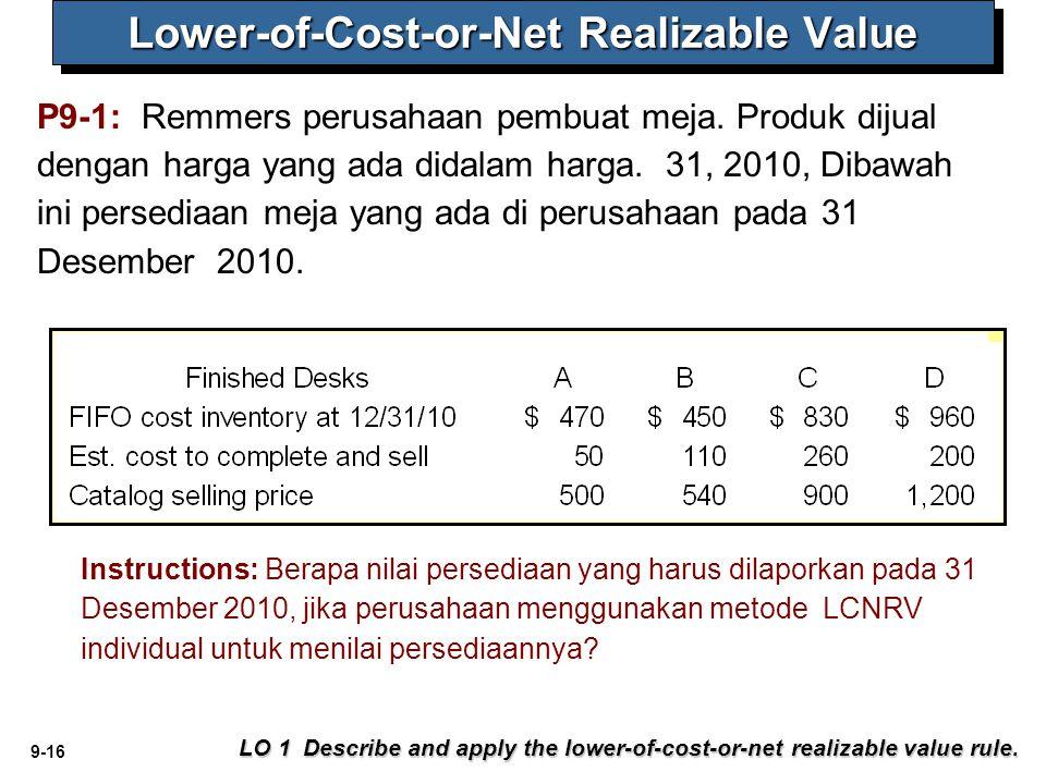 9-16 P9-1: Remmers perusahaan pembuat meja. Produk dijual dengan harga yang ada didalam harga. 31, 2010, Dibawah ini persediaan meja yang ada di perus