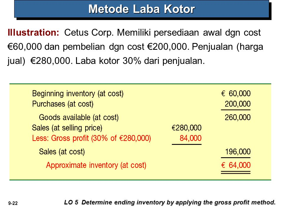 9-22 Metode Laba Kotor LO 5 Determine ending inventory by applying the gross profit method.