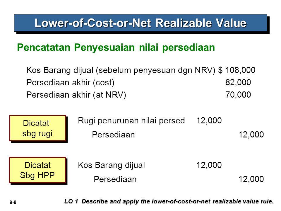 9-8 Kos Barang dijual (sebelum penyesuan dgn NRV) $ 108,000 Persediaan akhir (cost)82,000 Persediaan akhir (at NRV) 70,000 Persediaan 12,000 Rugi penu