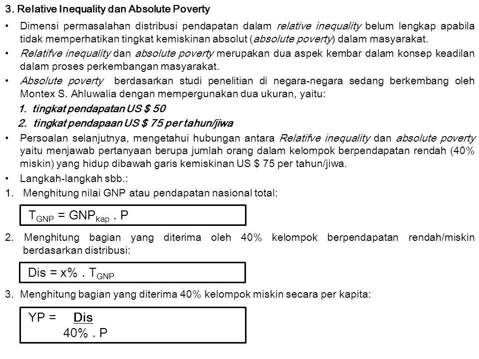 3. Relative Inequality dan Absolute Poverty Dimensi permasalahan distribusi pendapatan dalam relative inequality belum lengkap apabila tidak memperhat