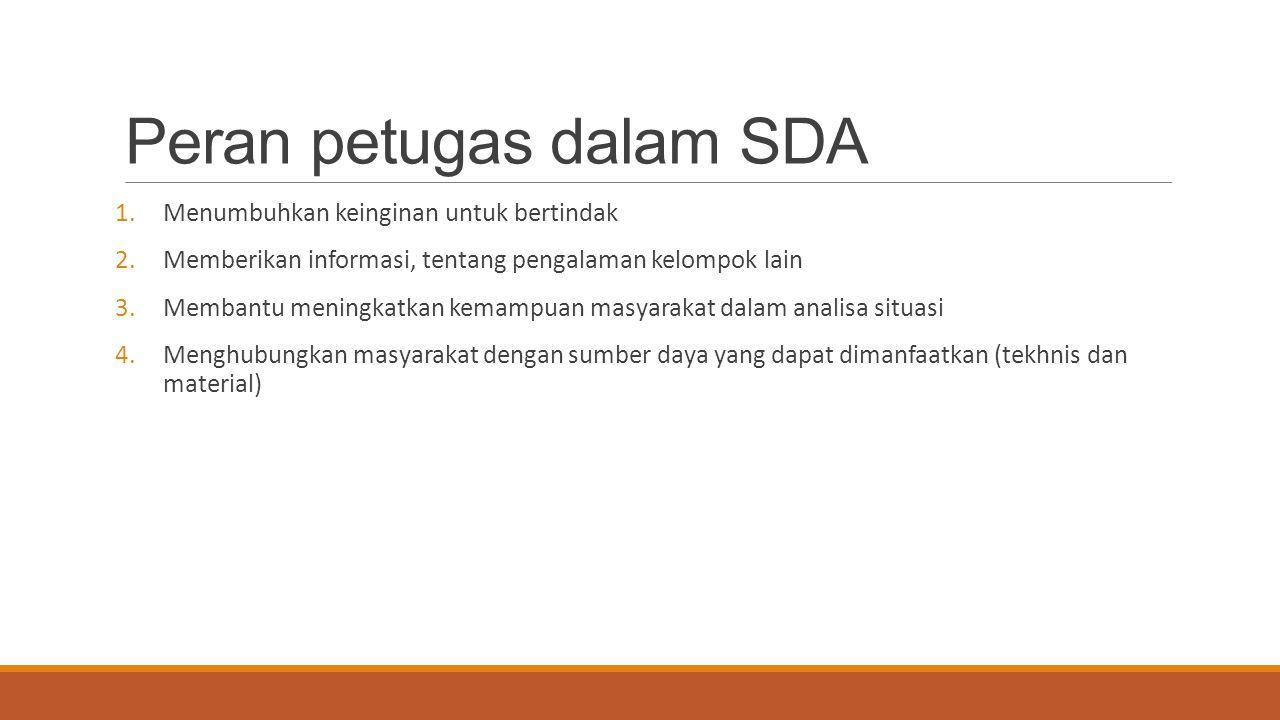 Peran petugas dalam SDA 1.Menumbuhkan keinginan untuk bertindak 2.Memberikan informasi, tentang pengalaman kelompok lain 3.Membantu meningkatkan kemam