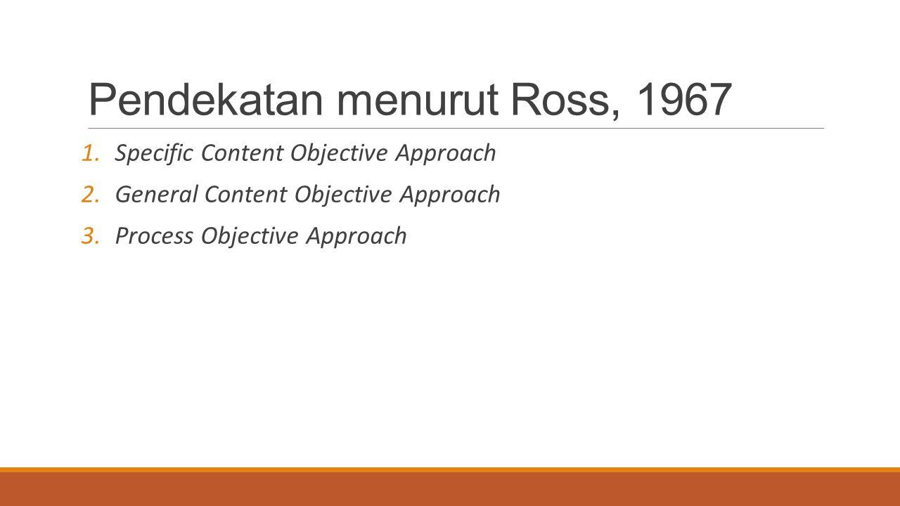 Pendekatan menurut Ross, 1967 1.Specific Content Objective Approach 2.General Content Objective Approach 3.Process Objective Approach