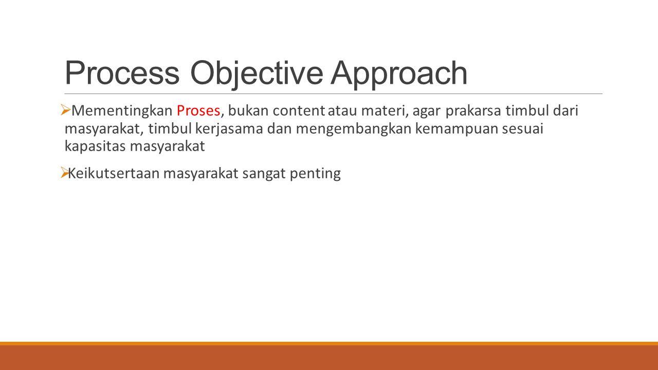 Process Objective Approach  Mementingkan Proses, bukan content atau materi, agar prakarsa timbul dari masyarakat, timbul kerjasama dan mengembangkan