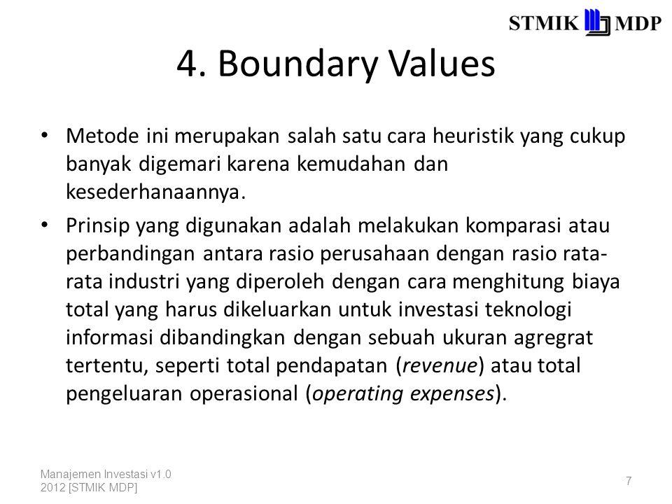 4. Boundary Values Metode ini merupakan salah satu cara heuristik yang cukup banyak digemari karena kemudahan dan kesederhanaannya. Prinsip yang digun