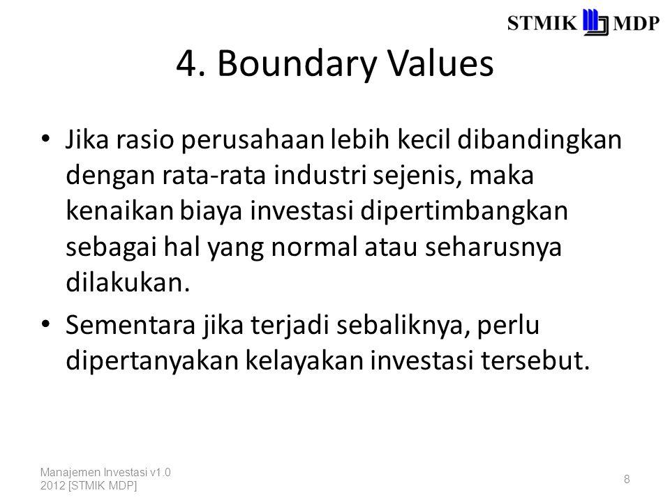 4. Boundary Values Jika rasio perusahaan lebih kecil dibandingkan dengan rata-rata industri sejenis, maka kenaikan biaya investasi dipertimbangkan seb