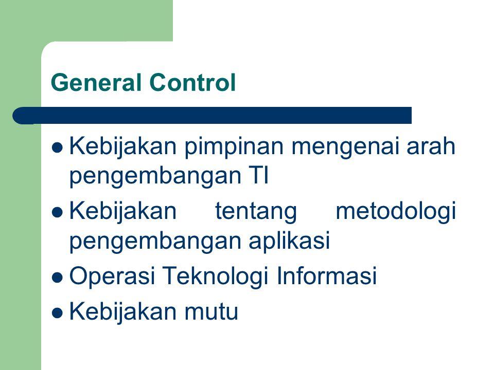 General Control Kebijakan pimpinan mengenai arah pengembangan TI Kebijakan tentang metodologi pengembangan aplikasi Operasi Teknologi Informasi Kebijakan mutu