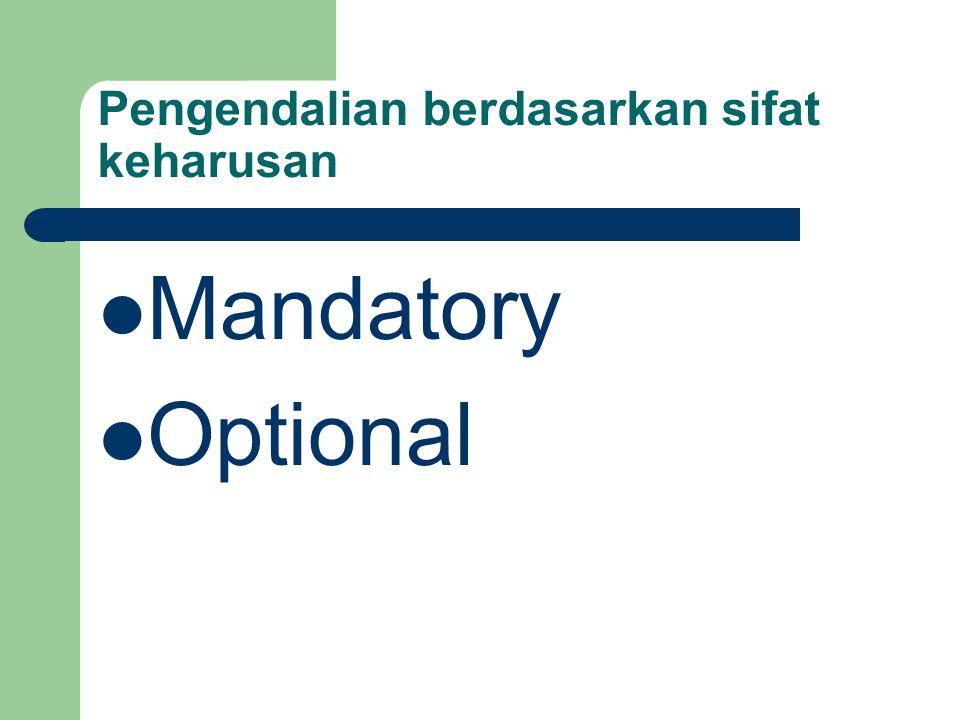 Pengendalian berdasarkan sifat keharusan Mandatory Optional