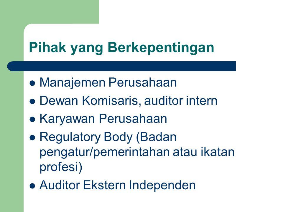 Pihak yang Berkepentingan Manajemen Perusahaan Dewan Komisaris, auditor intern Karyawan Perusahaan Regulatory Body (Badan pengatur/pemerintahan atau ikatan profesi) Auditor Ekstern Independen