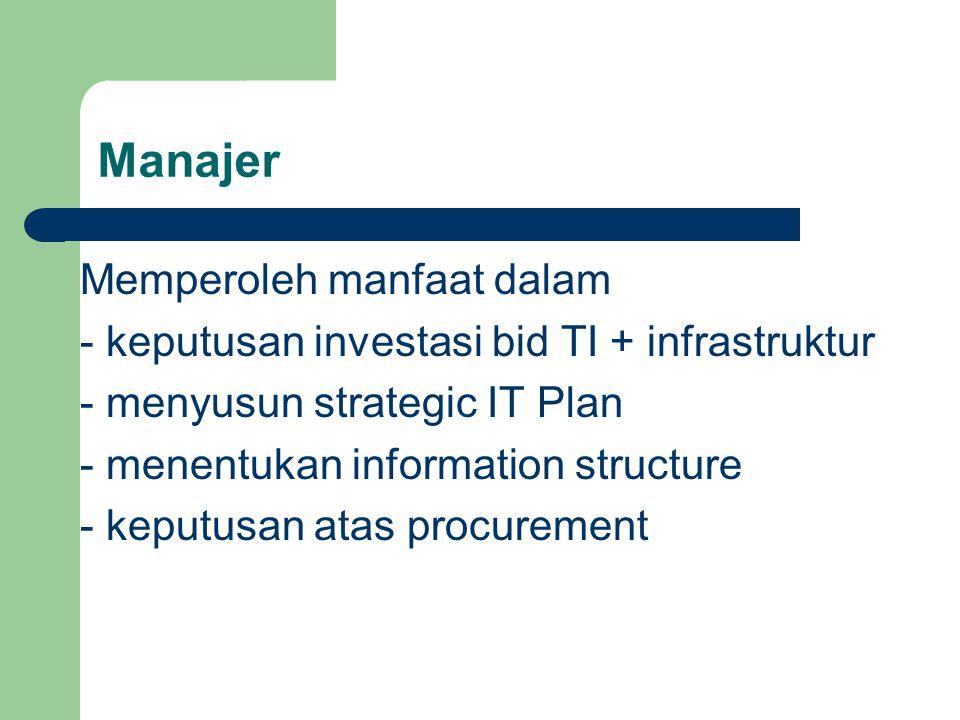 Manajer Memperoleh manfaat dalam - keputusan investasi bid TI + infrastruktur - menyusun strategic IT Plan - menentukan information structure - keputusan atas procurement