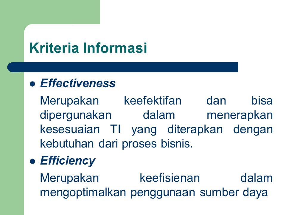 Kriteria Informasi Effectiveness Merupakan keefektifan dan bisa dipergunakan dalam menerapkan kesesuaian TI yang diterapkan dengan kebutuhan dari proses bisnis.