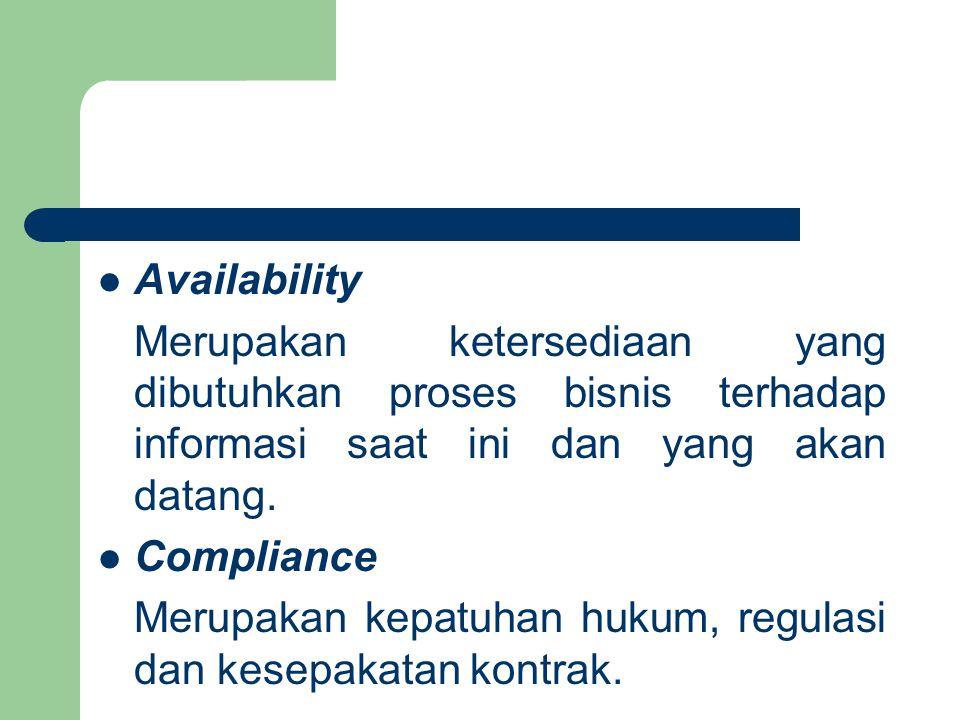 Availability Merupakan ketersediaan yang dibutuhkan proses bisnis terhadap informasi saat ini dan yang akan datang.