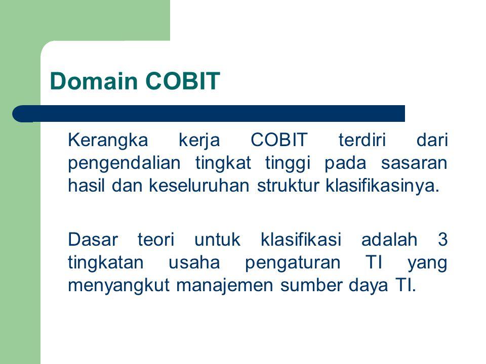 Domain COBIT Kerangka kerja COBIT terdiri dari pengendalian tingkat tinggi pada sasaran hasil dan keseluruhan struktur klasifikasinya.