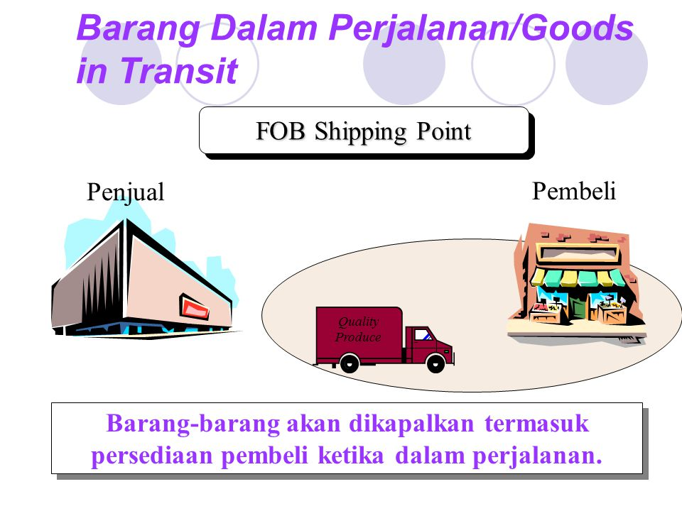 Barang Dalam Perjalanan/Goods in Transit Quality Produce Barang-barang akan dikapalkan termasuk persediaan pembeli ketika dalam perjalanan.