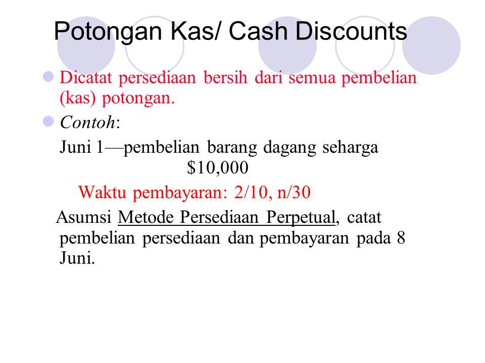 Potongan Kas/ Cash Discounts Dicatat persediaan bersih dari semua pembelian (kas) potongan.