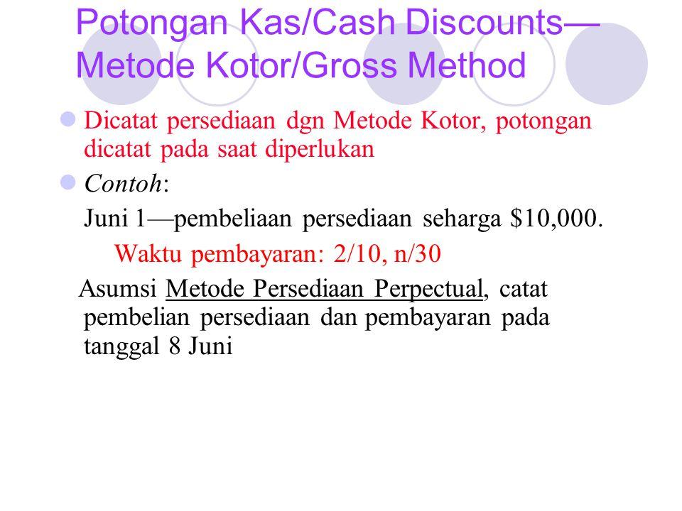 Potongan Kas/Cash Discounts— Metode Kotor/Gross Method Dicatat persediaan dgn Metode Kotor, potongan dicatat pada saat diperlukan Contoh: Juni 1—pembeliaan persediaan seharga $10,000.