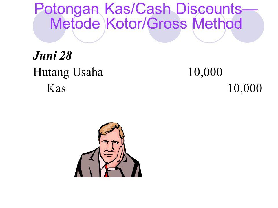 Juni 28 Hutang Usaha10,000 Kas10,000 Potongan Kas/Cash Discounts— Metode Kotor/Gross Method