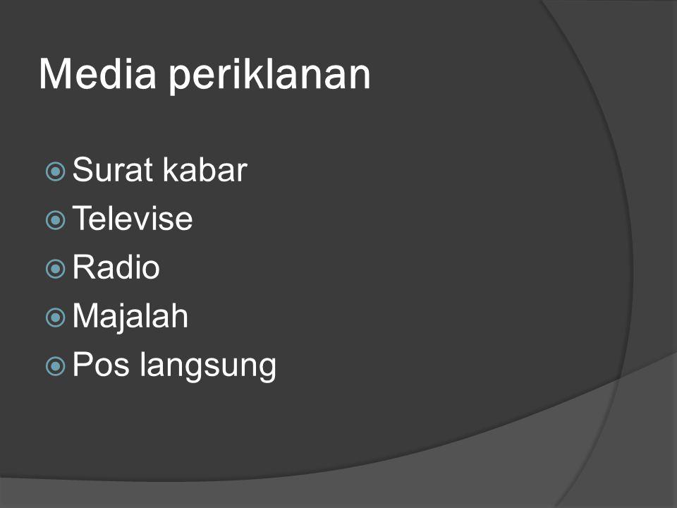 Media periklanan  Surat kabar  Televise  Radio  Majalah  Pos langsung
