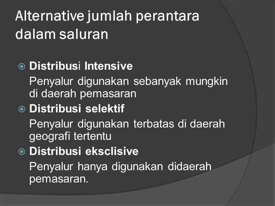 Alternative jumlah perantara dalam saluran  Distribusi Intensive Penyalur digunakan sebanyak mungkin di daerah pemasaran  Distribusi selektif Penyal
