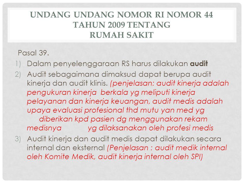 UNDANG UNDANG NOMOR RI NOMOR 44 TAHUN 2009 TENTANG RUMAH SAKIT Pasal 39. 1)Dalam penyelenggaraan RS harus dilakukan audit 2)Audit sebagaimana dimaksud