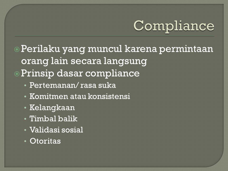  Perilaku yang muncul karena permintaan orang lain secara langsung  Prinsip dasar compliance Pertemanan/ rasa suka Komitmen atau konsistensi Kelangkaan Timbal balik Validasi sosial Otoritas