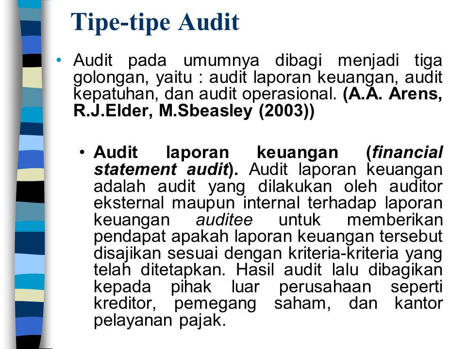 Tipe-tipe Audit Audit pada umumnya dibagi menjadi tiga golongan, yaitu : audit laporan keuangan, audit kepatuhan, dan audit operasional. (A.A. Arens,