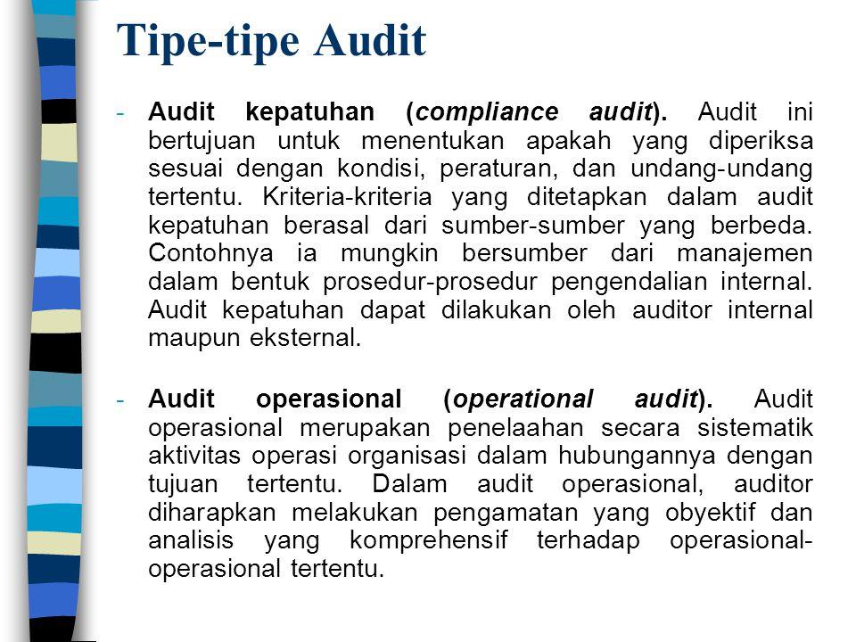 Tipe-tipe Audit -Audit kepatuhan (compliance audit). Audit ini bertujuan untuk menentukan apakah yang diperiksa sesuai dengan kondisi, peraturan, dan