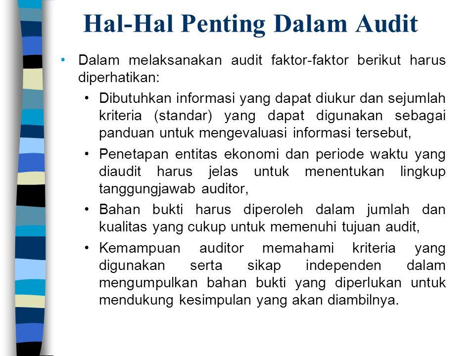 Hal-Hal Penting Dalam Audit Dalam melaksanakan audit faktor-faktor berikut harus diperhatikan: Dibutuhkan informasi yang dapat diukur dan sejumlah kri