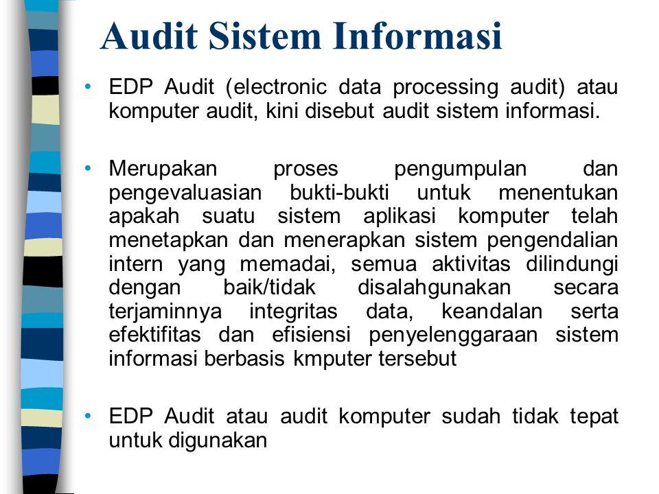Audit Sistem Informasi EDP Audit (electronic data processing audit) atau komputer audit, kini disebut audit sistem informasi. Merupakan proses pengump