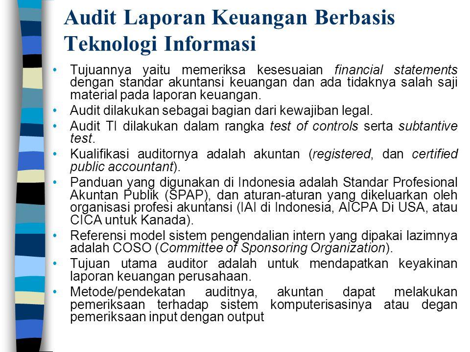Audit Laporan Keuangan Berbasis Teknologi Informasi Tujuannya yaitu memeriksa kesesuaian financial statements dengan standar akuntansi keuangan dan ad