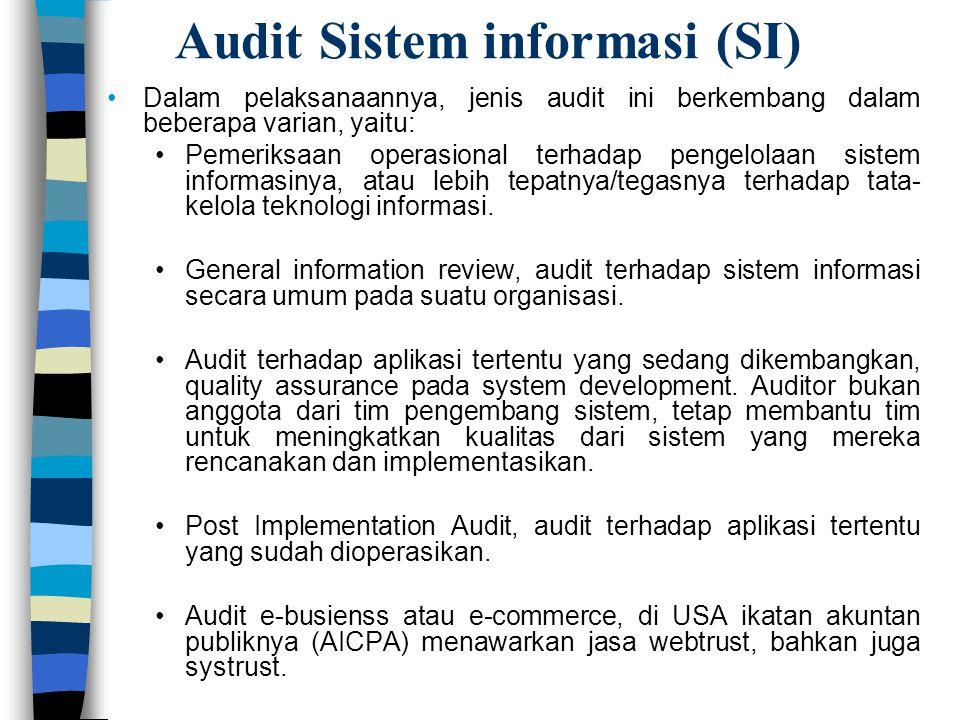 Audit Sistem informasi (SI) Dalam pelaksanaannya, jenis audit ini berkembang dalam beberapa varian, yaitu: Pemeriksaan operasional terhadap pengelolaa