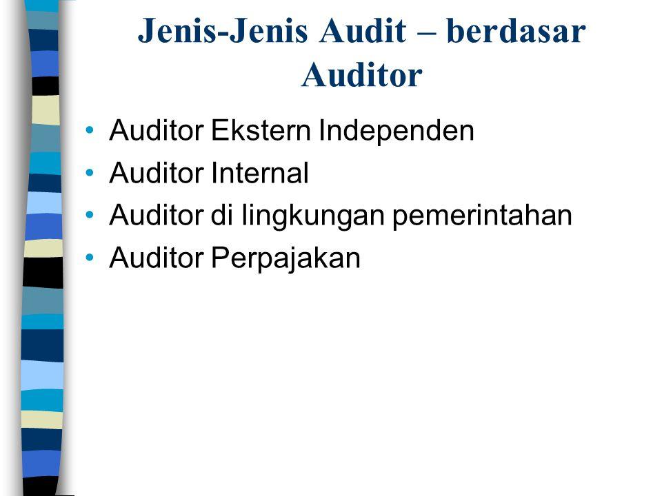 Jenis-Jenis Audit Jenis Audit Berdasarkan Bidang Berdasarkan Auditor Keuangan Operasional Ketaatan (A.A.