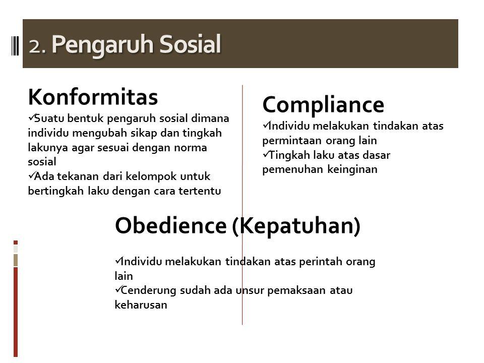 2. Pengaruh Sosial Konformitas Suatu bentuk pengaruh sosial dimana individu mengubah sikap dan tingkah lakunya agar sesuai dengan norma sosial Ada tek
